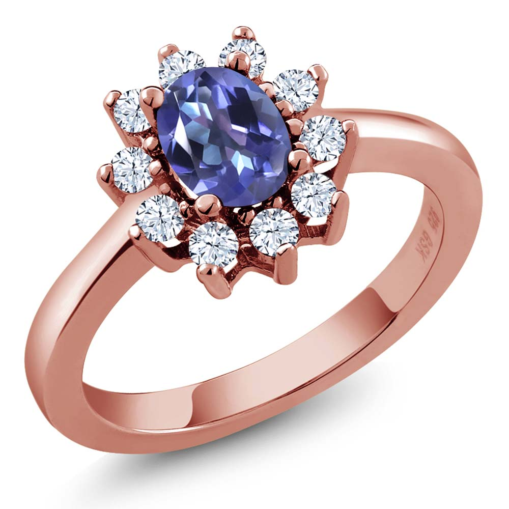 1.35 Ct Oval Blue Mystic Topaz and White Topaz Rose Gold Plated 925 Silver Ring