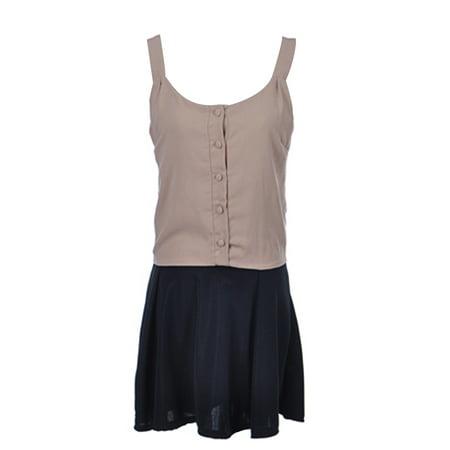 S/M Fit Beige Black Skirt Button Down Conservative Ruffle Mini Dress
