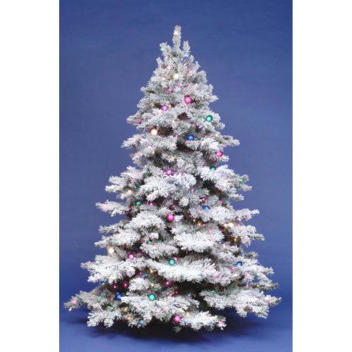 6.5 ft. Flocked Alaskan Full Pre-lit Christmas Tree