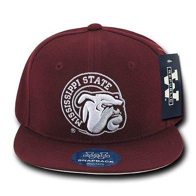 Maroon Mississippi Miss State Bulldogs NCAA Flat Bill Snapback Baseball Hat Cap