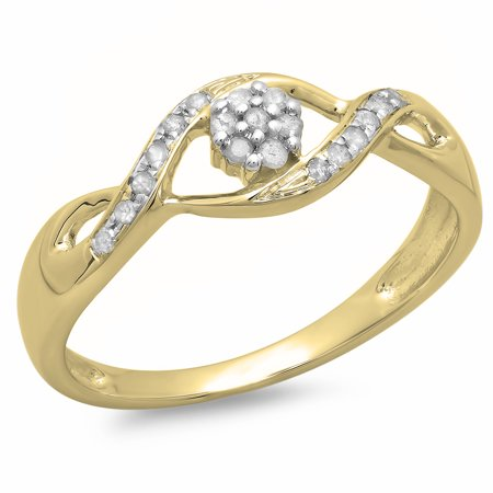 0.15 Carat (ctw) 10K Gold Round White Diamond Ladies Bridal Bypass Swirl Cluster Engagement Promise Ring