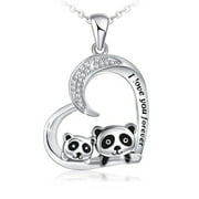 KABOER Cute Animal Heart Necklace For Women I Love You Forever Mother And Daughter Panda Necklace Jewelry Gifts(Silver)