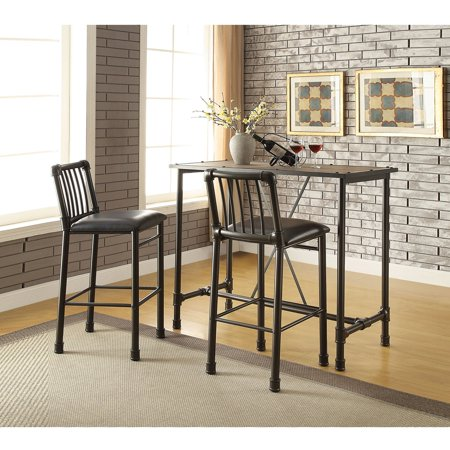Long Bar Table - ACME Caitlin Bar Table, Rustic Oak and Black, Chairs Sold Separately