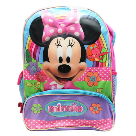8154b91dc417 Minnie Mouse - Rainbows and Flowers Kids Full Size Backpack (16in) -  Walmart.com