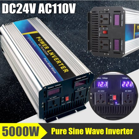 Control Pure Sine Wave Output - 5000W Super Power Pure Sine Wave Power Inverter Peak 10000W 24V To AC110 Double Cooling Fan  Alligator Clip