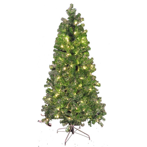 Queens of Christmas 9' Green and Silver Tinsel Tree