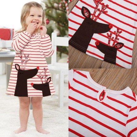 717b211d4ea5 Hirigin - Baby Girls Christmas Xmas Reindeer Little Girls Cute Dress One  Piece - Walmart.com