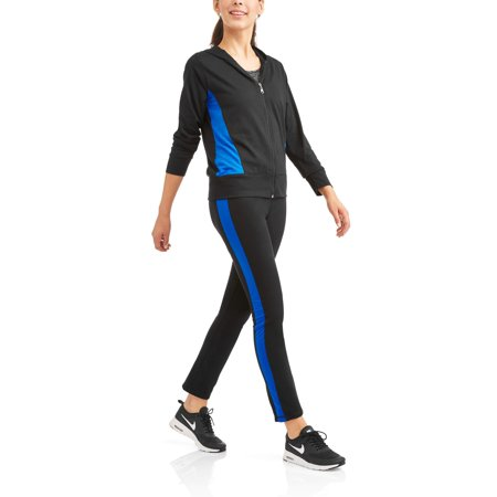 Women's Active Sporty Colorblock Full Zip Hoodie and Pant Tracksuit