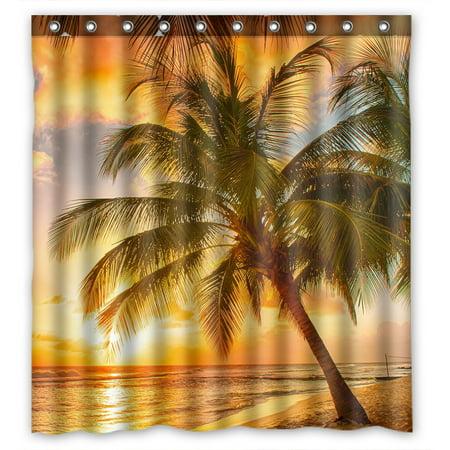 YKCG Sunset Landscape Nautical Beach Tropical Palm Tree Waterproof Fabric Bathroom Shower Curtain 66x72 inches (Nautical Shower Decorations)