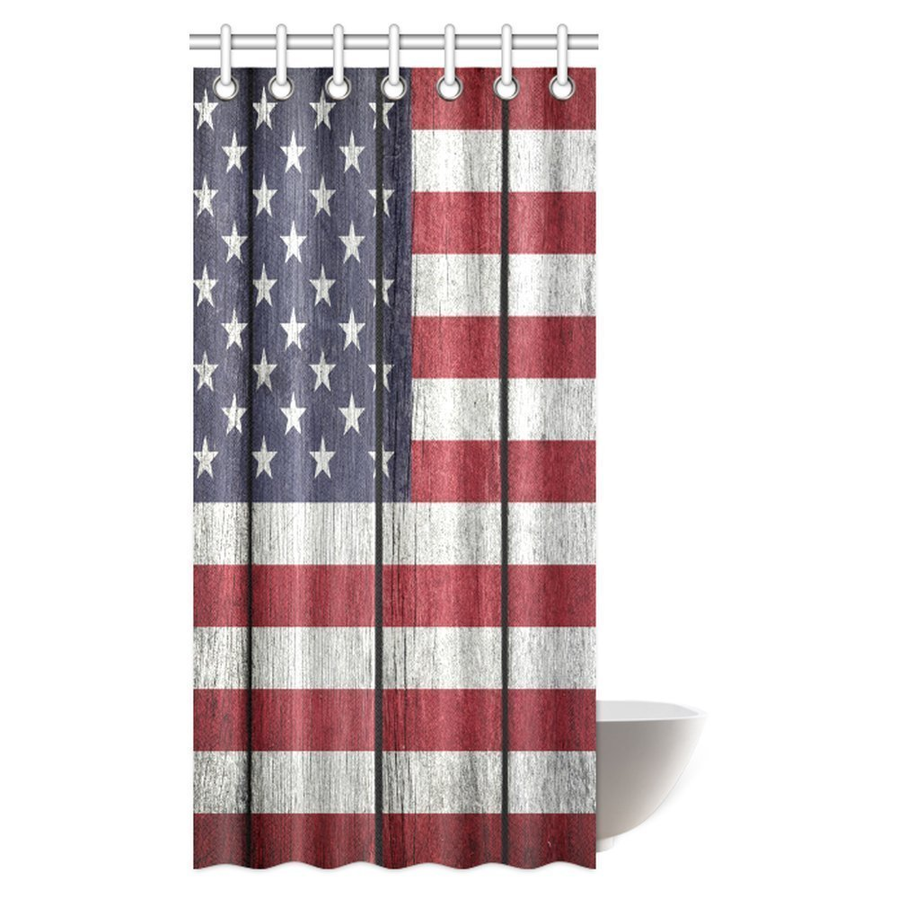 Gckg Usa Flag Shower Curtain United States Of America On Old Vintage Wood Fabric Bathroom 36x72 Inches