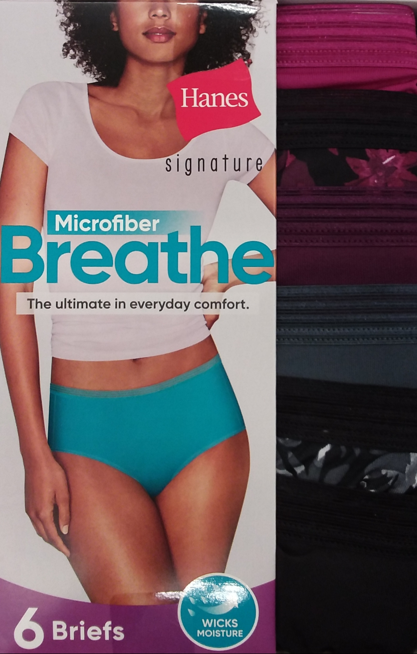 Hanes Womens Signature Microfiber Breathe Briefs 6-Pack