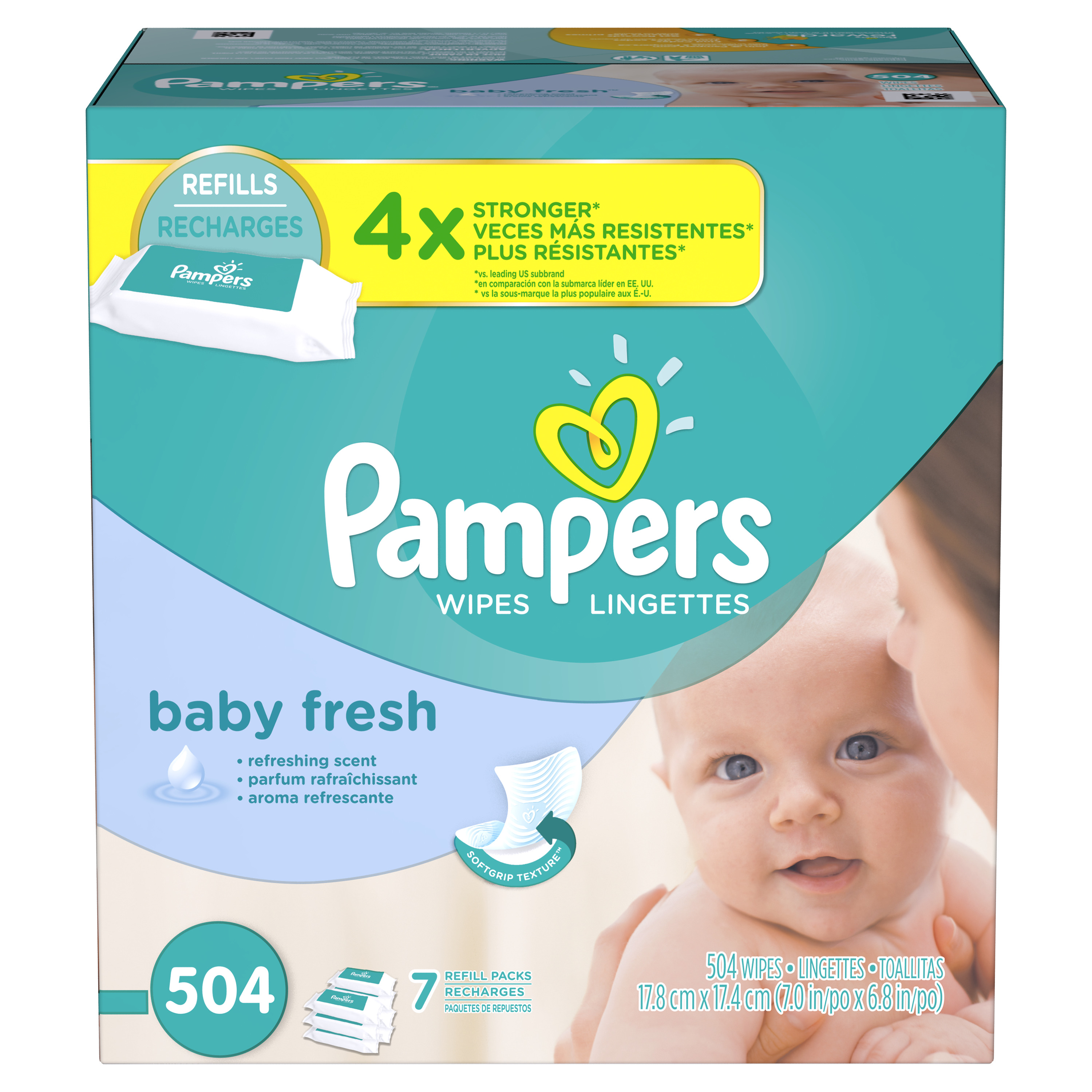 Pampers Baby Wipes Baby Fresh 7X Refill 504 count