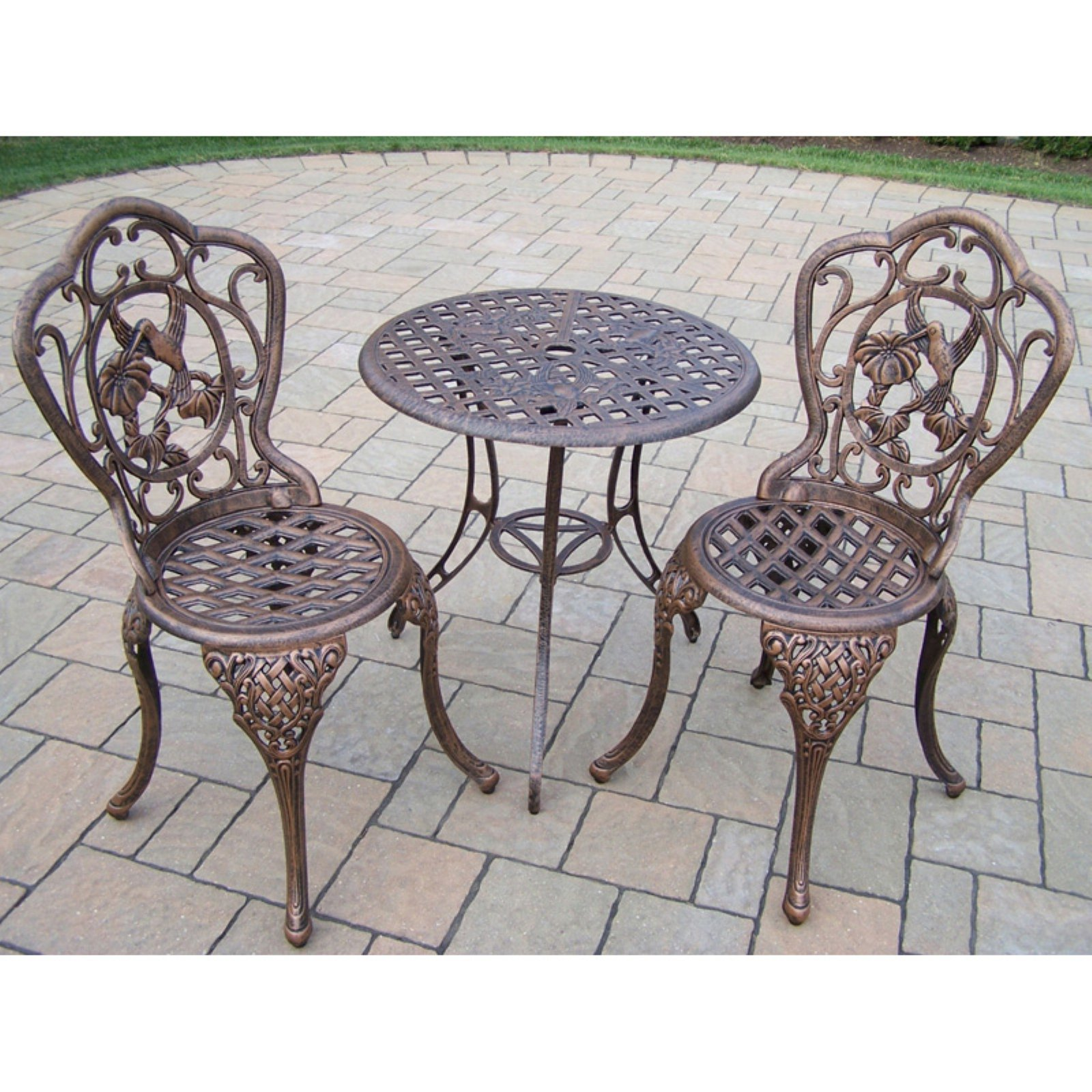 Oakland Living Hummingbird Cast Aluminum Patio Bistro Set