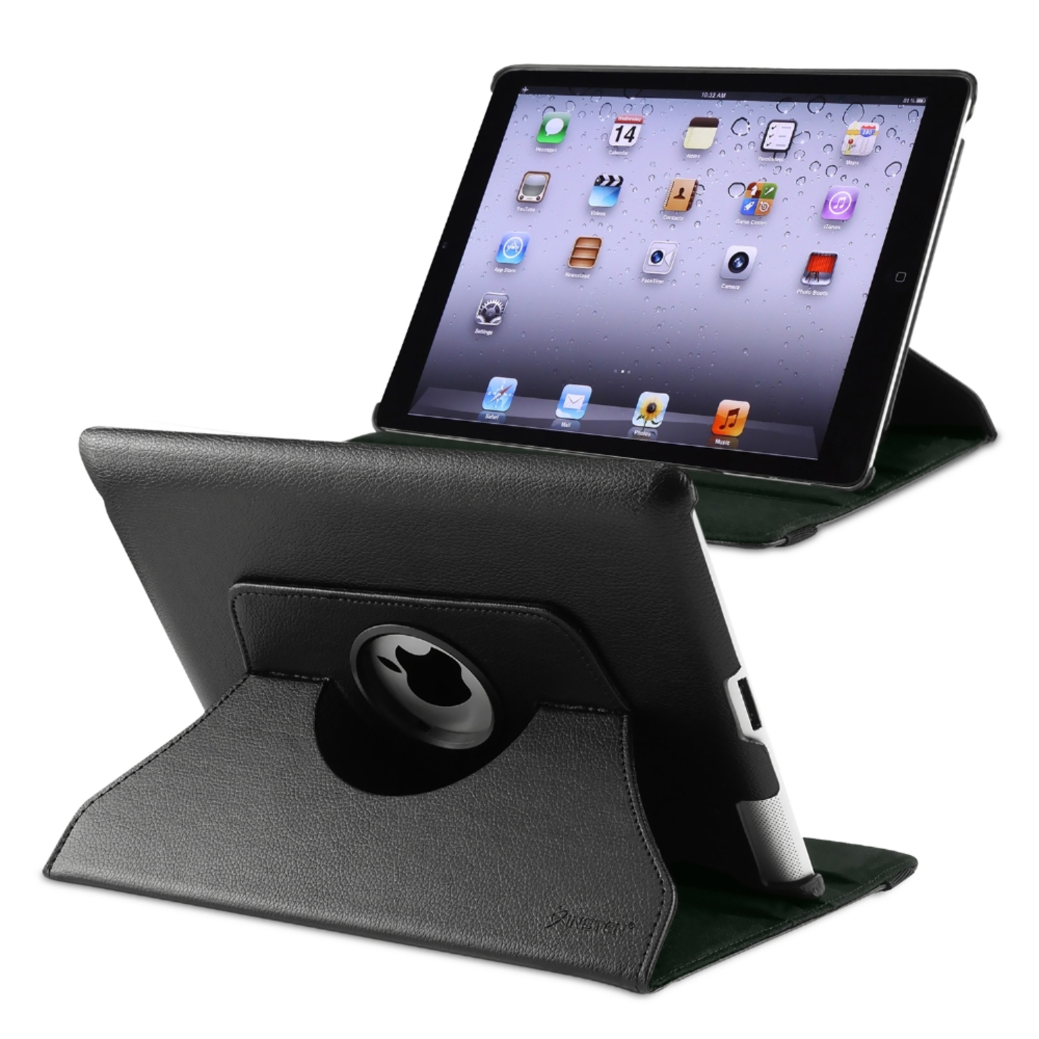 Insten 360-degree Swivel Leather Case For Apple iPad 2 / 3 / 4, Black