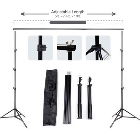 Zimtown 10ft Adjustable Background Support Stand Photography Video Backdrop Kit Black (Multiple Background Stand)