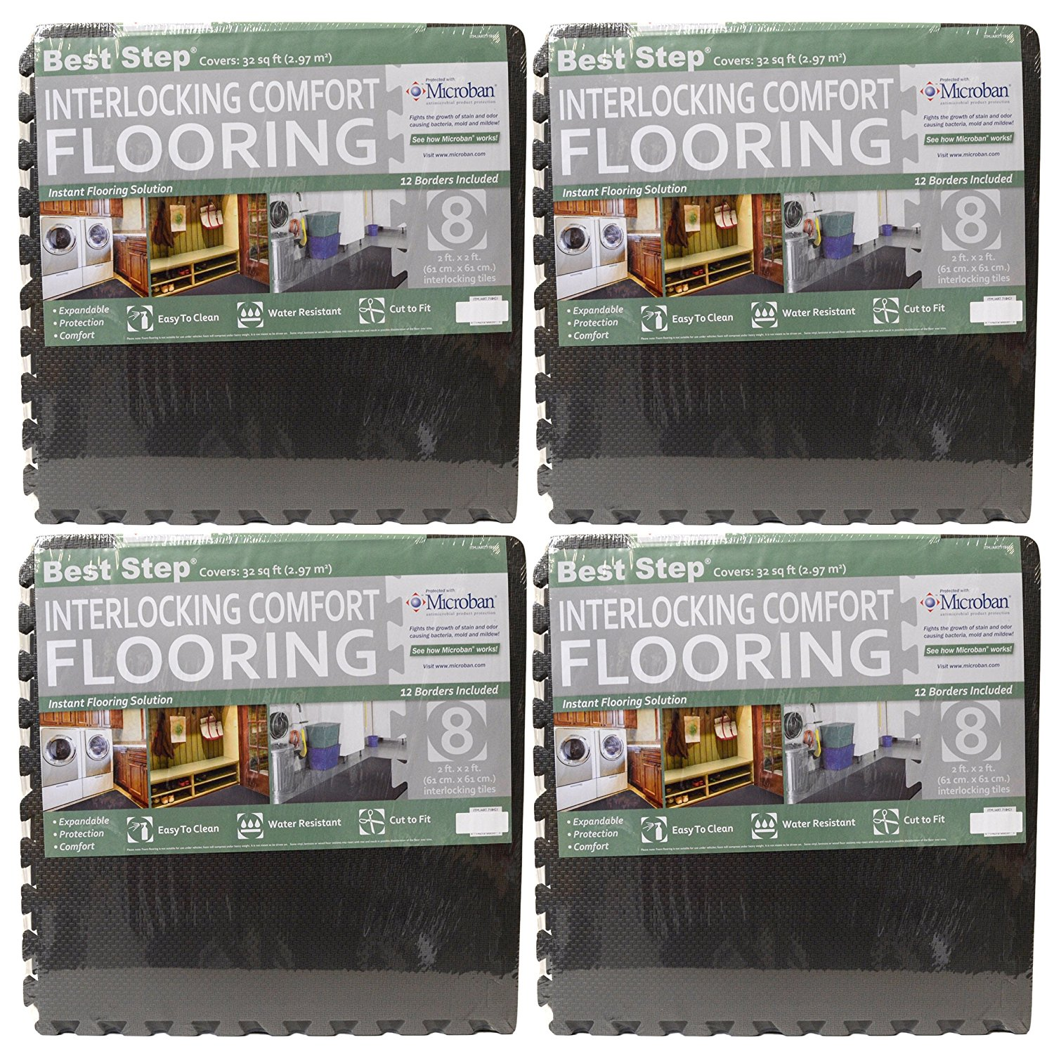 Interlocking comfort flooring 8 pack plus borders 2 x 2 x 38 8 pack plus borders 2 x 2 x 38 one pack of 8 tiles 32 sq ft microban protected charcoal gray foam flooring by best step walmart dailygadgetfo Images
