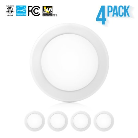 Parmida (4 Pack) 5/6â Dimmable LED Disk Light Flush Mount Recessed Retrofit Ceiling Lights, 15W (120W Replacement), 5000K (Cool White), Energy Star, Installs into Junction Box Or Recessed Can, 1050lm