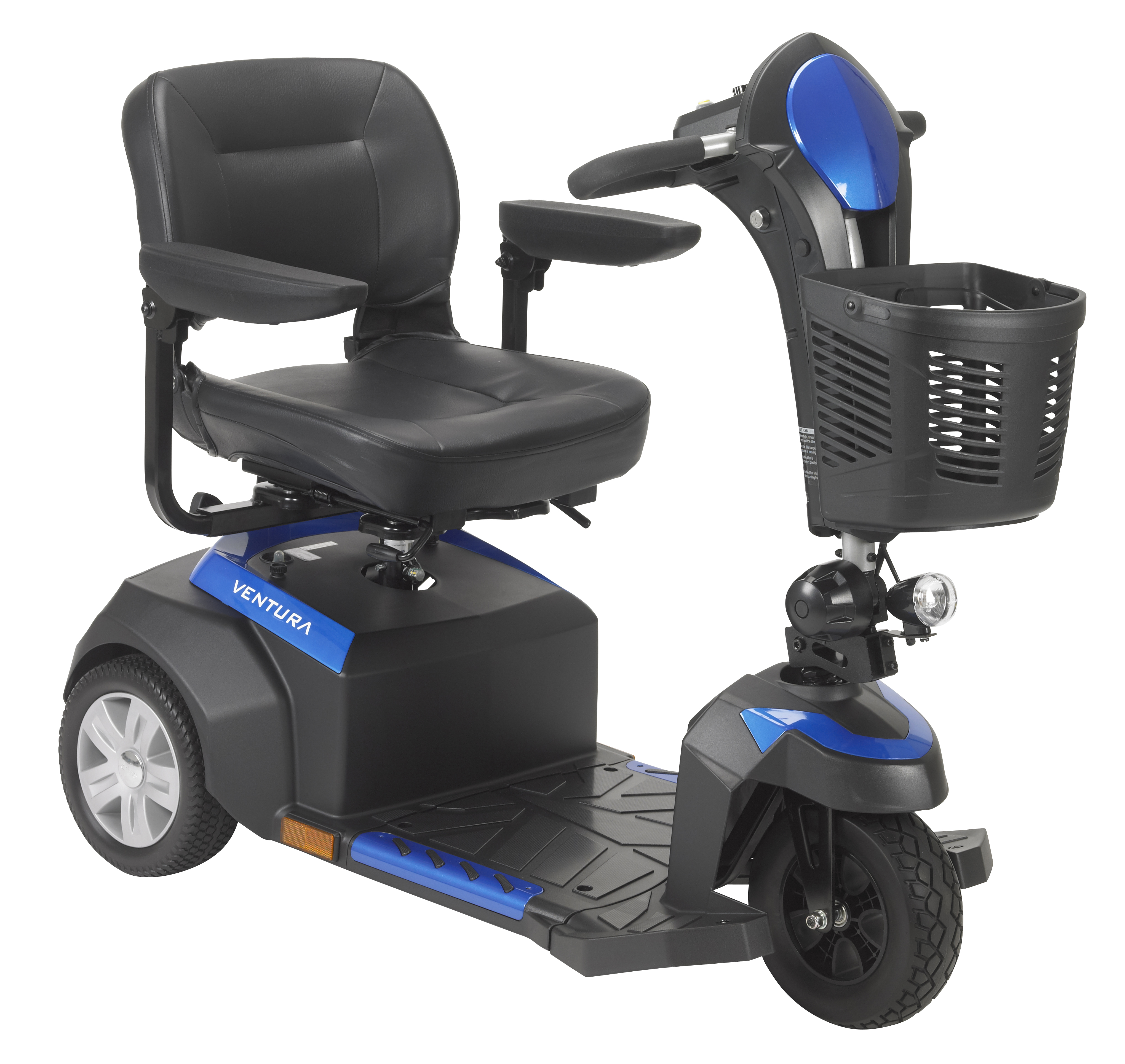 "Drive Medical Ventura Power Mobility Scooter, 3 Wheel, 18"" Folding Seat with Peace of Mind Protection Included"
