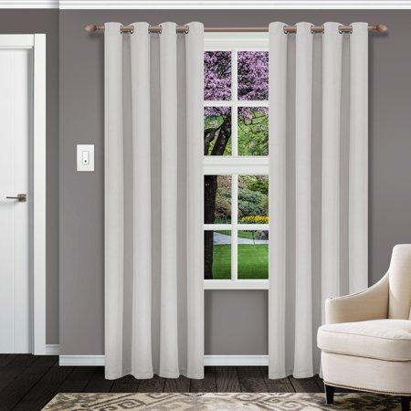 Superior Solid Textured Blackout Curtain Set of 2,Insulated Panels with Grommet Top