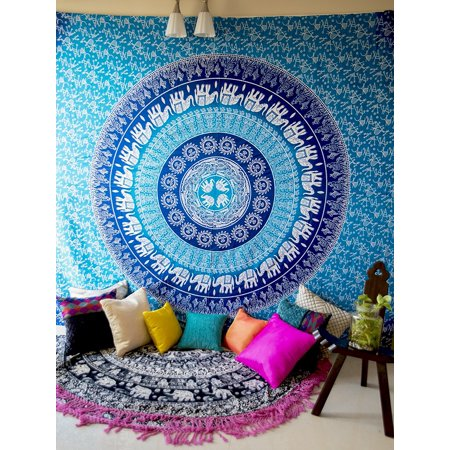 Meigar Bohemian Mandala Hippie Tapestry Wall Hanging, Blue Elephant Indian Ombre Hippy Mandala Bedding Bedspread for Bedroom, Dorm Room Home Wall Art Decor Bed Cover 97''x55''