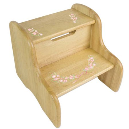 Child Wooden Step - Personalized Blush Floral Garland Wooden Two Step Stool
