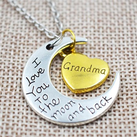 Case 2 Tone Hearts - I Love You to the Moon and Back - Moon Heart Necklace 2 Tone - Grandma