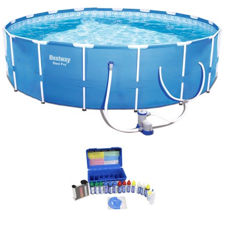 Bestway 12 x 12 Foot Steel Frame Pool + Chlorine pH Alkaline Water Test