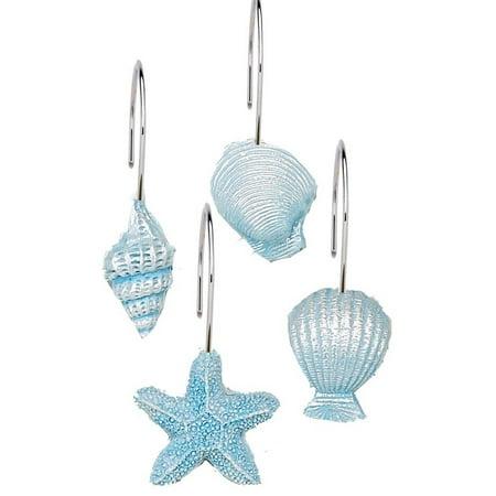 Royal Bath Blue South Beach Resin Shower Curtain Hooks, Set Of 12 (Beach Party Shower Hooks)