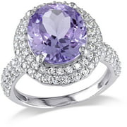 5-1/7 Carat T.G.W. Amethyst and Created White Sapphire Sterling Silver Double Halo Cocktail Ring