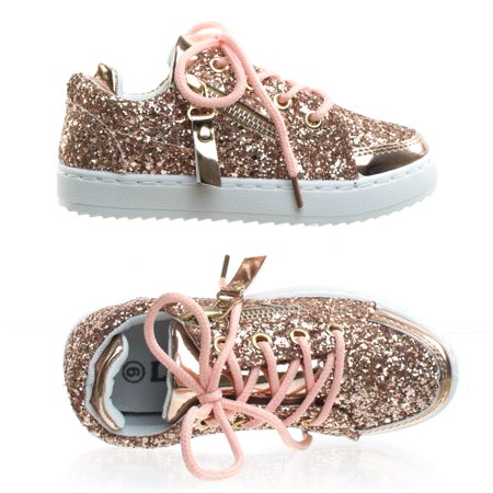Ultra49K by Link, Children / Girl's Glitter Sneaker w Side Zipper & White - Platform Shoes From The 70s