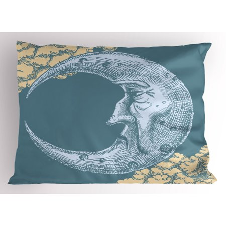 Moon Pillow Sham Vintage Crescent Moon with Grumpy Facial Expression Abstract Hand Drawn Style, Decorative Standard King Size Printed Pillowcase, 36 X 20 Inches, Slate Blue Mustard, by Ambesonne