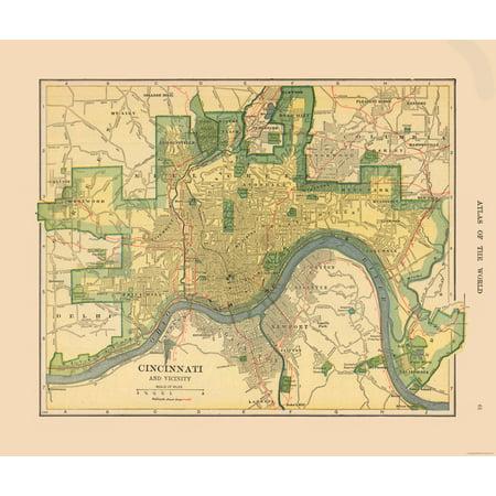 Historic City Map - Cincinnati and Vicinity - Hammond\'s Atlas 1910 ...