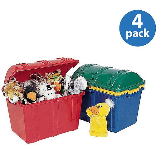 ECR4Kids Treasure Chest Storage Boxes, Set of 4