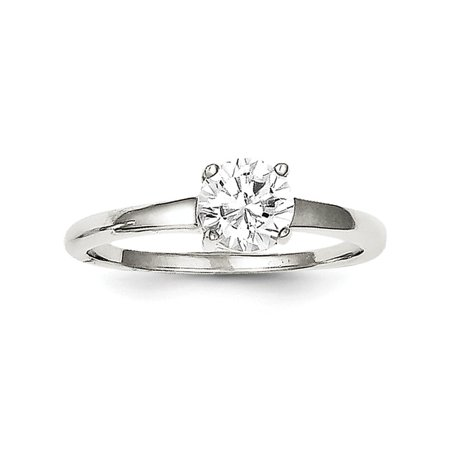 Ice Solitaire Ring (925 Sterling Silver Solitaire Round Cubic Zirconia Cz Band Ring Size 6.00 Engagement Gifts For Women For Her)