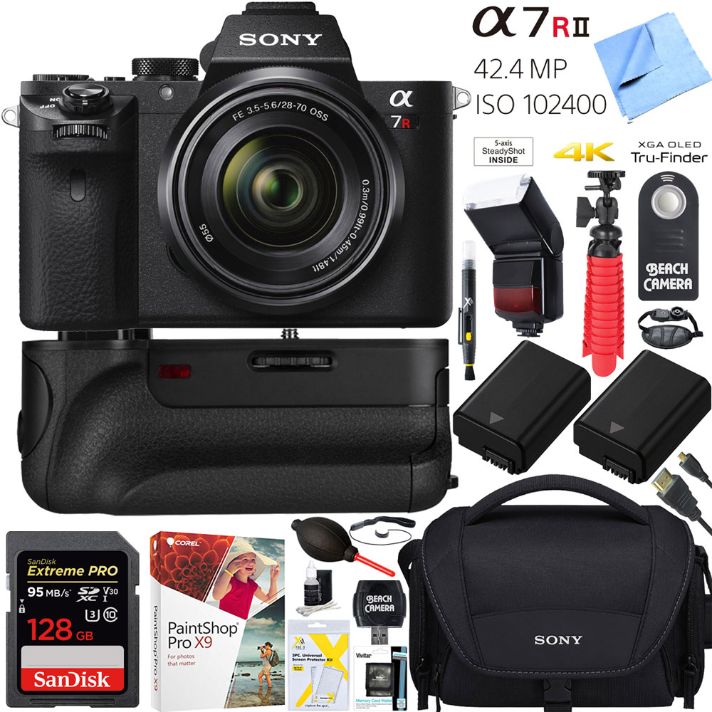 a7R II 42.4MP Full-frame Mirrorless Interchangeable Lens Camera Body w/ Sony FE 28-70mm F3.5-5.6 OSS Full Frame E-Mount Lens + 64GB Battery Grip and Memory Bundle