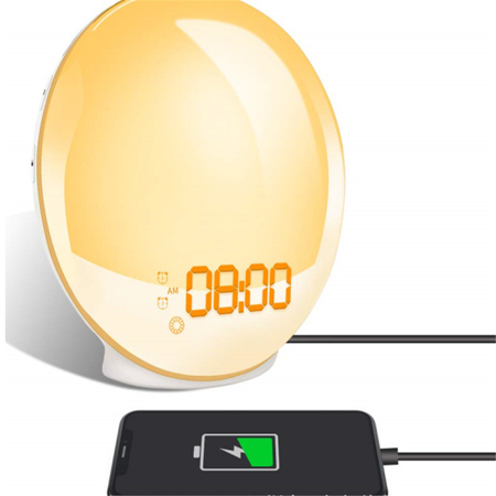 Wake-Up Light, Alarm Clock with 8 Colored Sunrise Simulation and Sunset Fading...