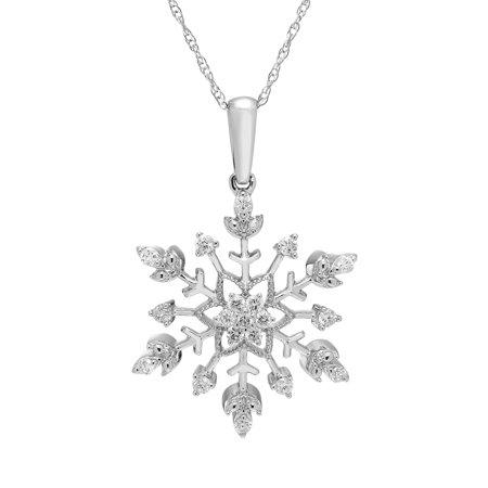 10K White Gold 1/4 Ctw. Diamond Snowflake Pendant Necklace (Ctw Diamond Cross Pendant)