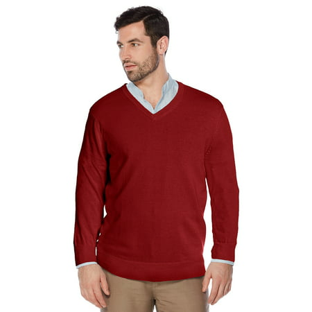 Berlioni Italy Men's Slim Fit Microfiber V-Neck Dress Pullover - Men Red Sweater Vest