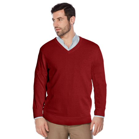 Berlioni Italy Men's Slim Fit Microfiber V-Neck Dress Pullover