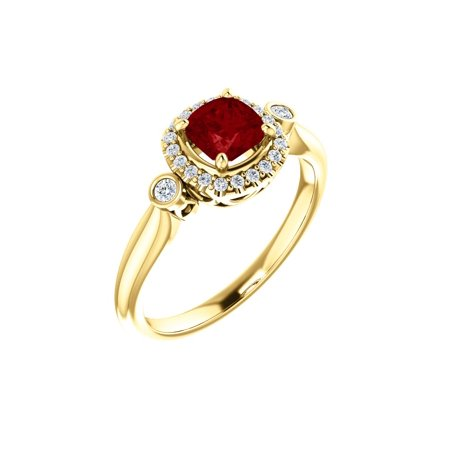 14k Yellow Gold Gem Quality Chatham® Created Ruby & 1/6 Ct Diamond Halo