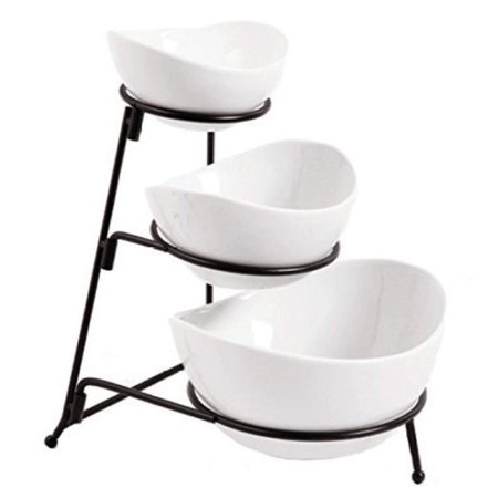 3 Tier Oval Bowl Set with Metal Rack, White Party Food Server Display Set - - Three Ceramic Bowl Serving - Dessert Appetizer Fruit Candy Chip Dip,.., By Partito Bella
