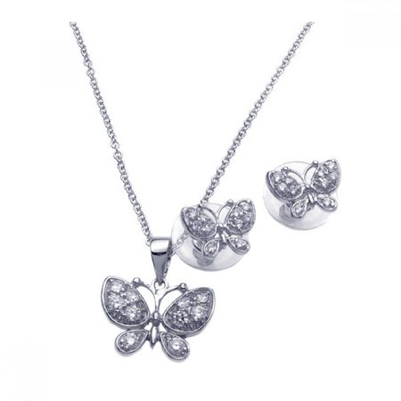 (Exquisite Sterling Silver Rhodium Plated Clear Butterfly CZ Stud Earring Necklace Set)