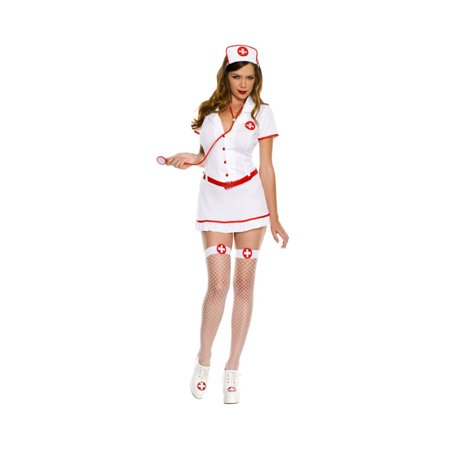 Music Legs Womens Sexy White Nurse Outfit Adult Halloween Costume
