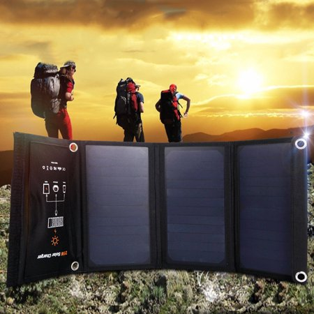 Costway 21W Foldable Waterproof Dual USB Solar Panel Charger For Smartphone Travel