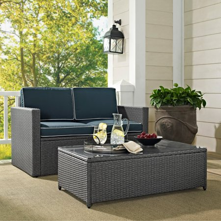 Crosley Wicker Seating Grey Wicker Navy Cushions Product Image