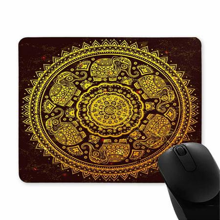 POP Rubber Durable Ethnic Mandala Ornament with Tribal Aztec Elephants Mousepad 9x10 inch - image 1 of 2