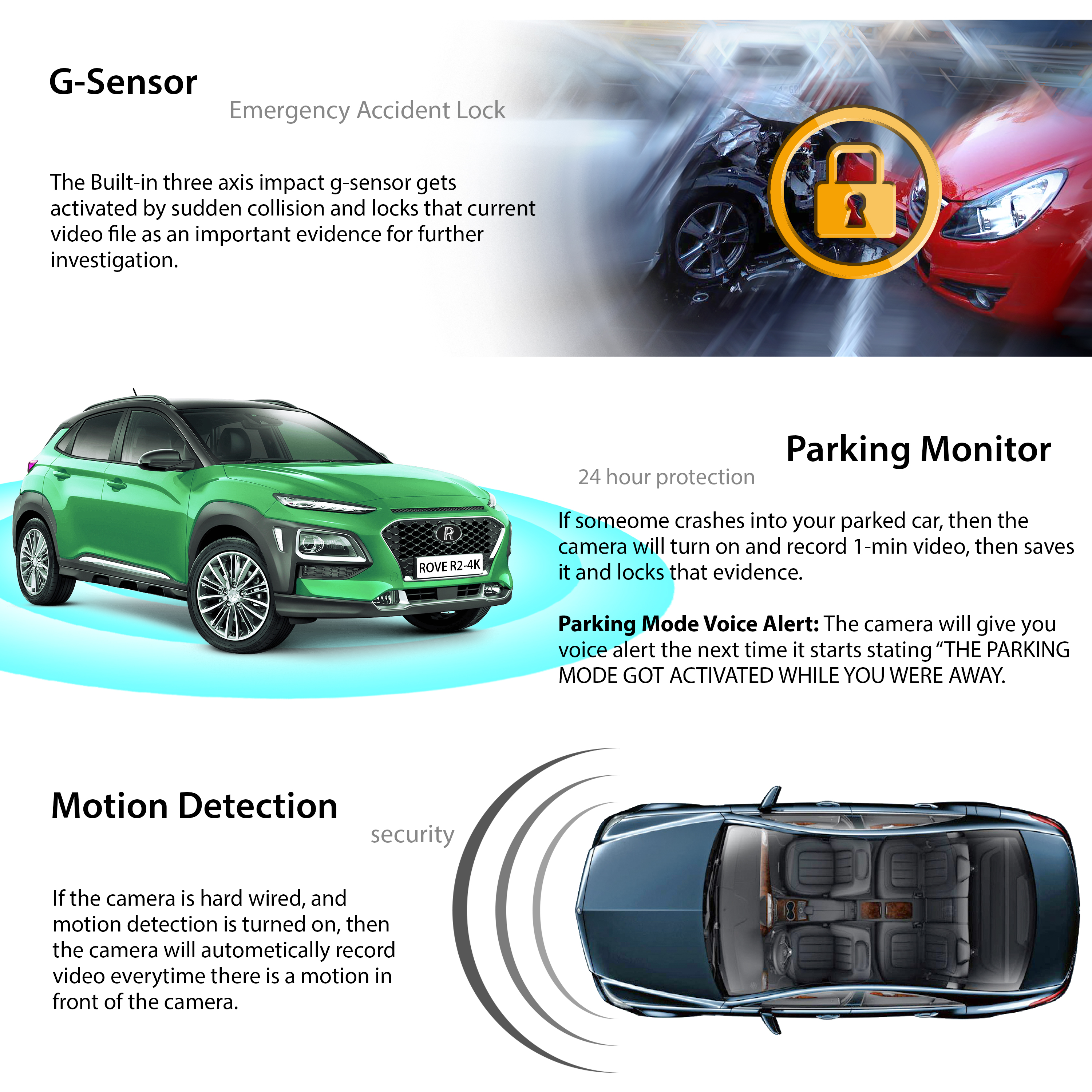 WDR Rove R2-4K Dash Cam Built in WiFi GPS Car Dashboard Camera Recorder with UHD 2160P Night Vision 2.4 LCD 150/° Wide Angle 2.4 LCD