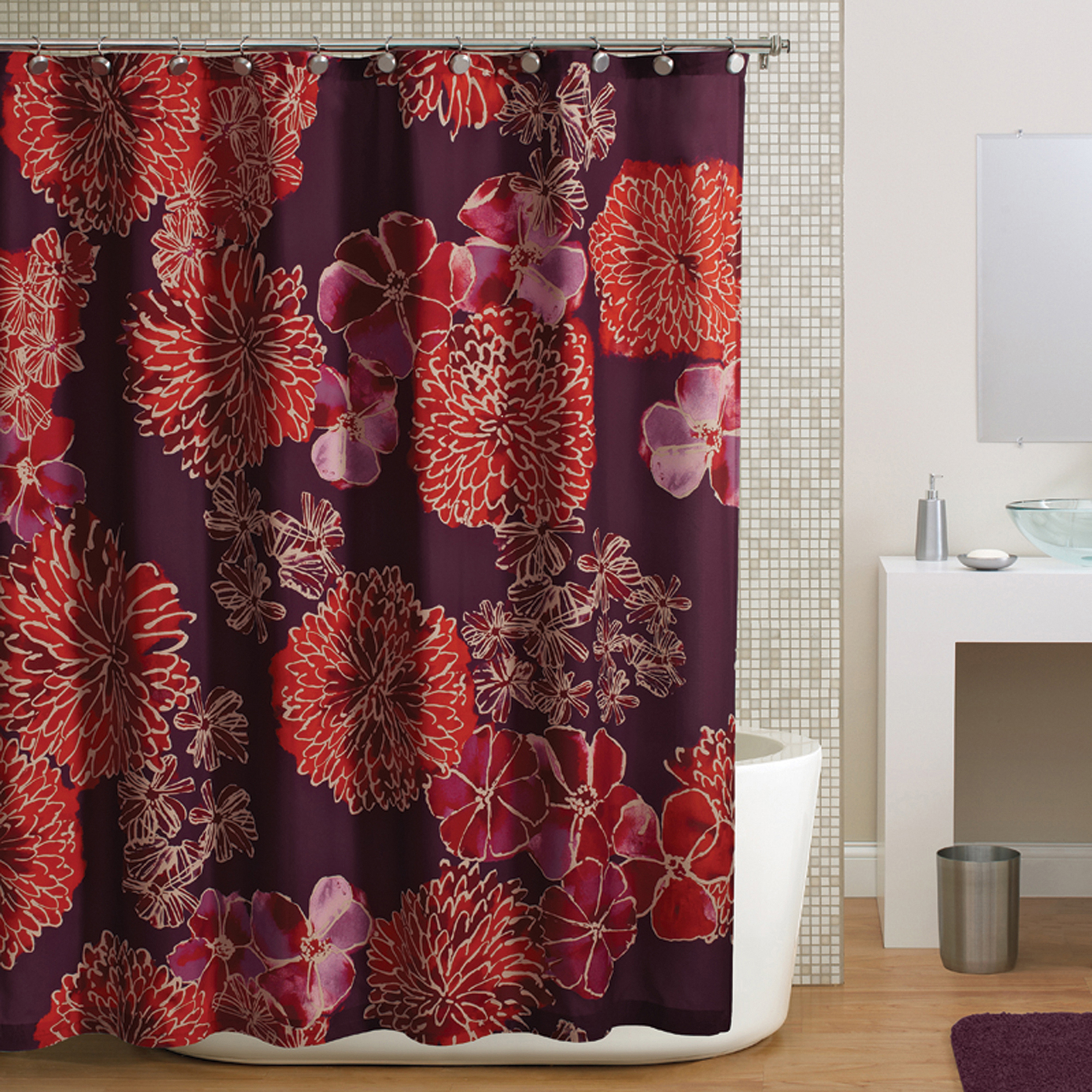 Hometrends Watercolor Floral Shower Curtain, Purple