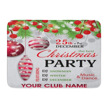 GODPOK Ball Green 2018 Christmas Party with Fir Branches and Holly Berry and Red Baubles Silver 2019 Best Rug Doormat Bath Mat 23.6x15.7 inch ()
