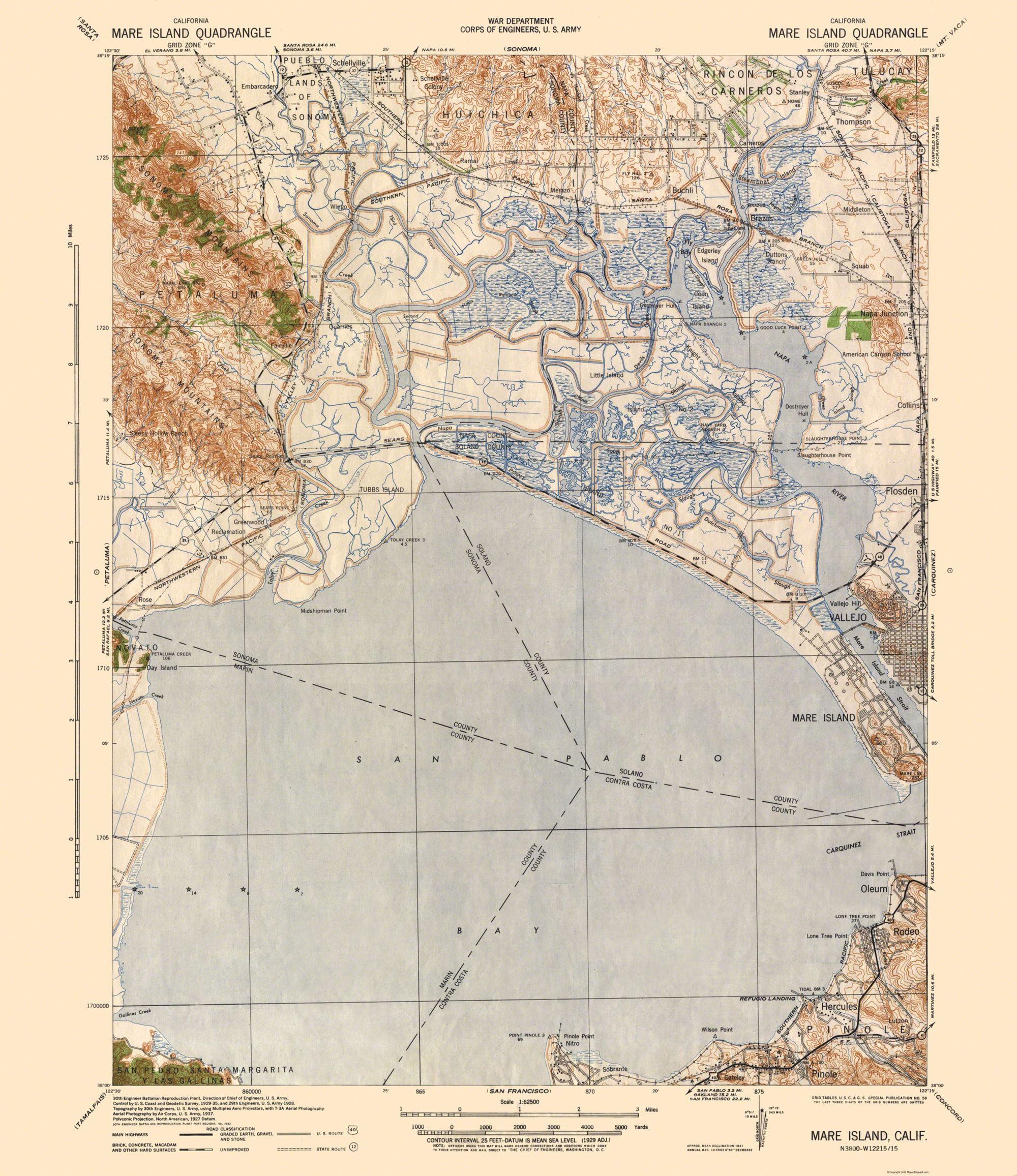 Topographic Map Washington Dc.Topographical Map Mare Island California Quad War Dept 1942 23